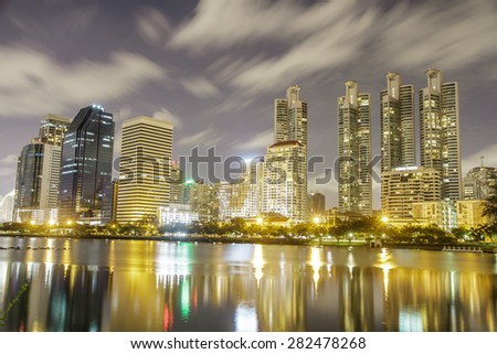 Cityscape night shot from Queen Sirikit National Convention Center, Bangkok, Thailand.