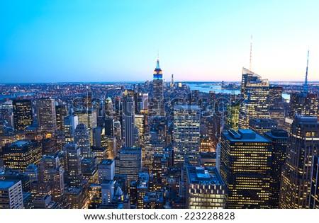 Cityscape night view of Manhattan, New York City, USA - stock photo