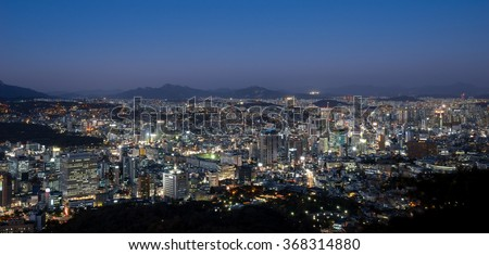 Cityscape night view of residence, building and office. Seoul, South Korea.