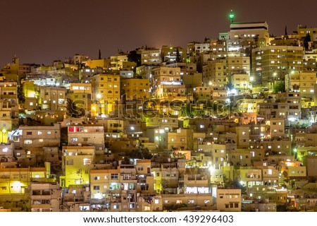 Cityscape of Amman, capital of Jordan, in the late evening