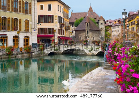 Cityscape of Annecy an a summer day