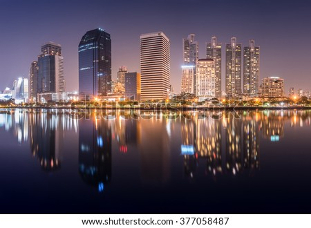 Cityscape of Bangkok at night, Thailand