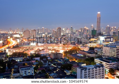 Cityscape of Bangkok Skylines at Victory Monument Downtown at Dusk aerial view - stock photo
