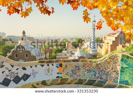 cityscape of Barcelona  from park Guell at fall day,  Spain - stock photo