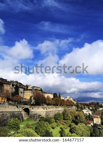 Cityscape of Bergamo in Lombardy province, Italy.