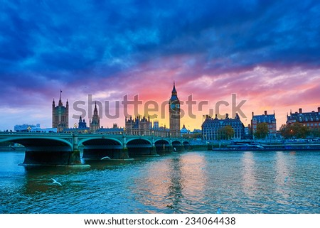 Cityscape of Big Ben and Westminster Bridge with river Thames at sunset, London, UK  - stock photo