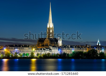 Cityscape of Bordeaux at a black summer night - stock photo