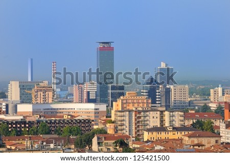 Cityscape of Brescia, early in the morning - stock photo