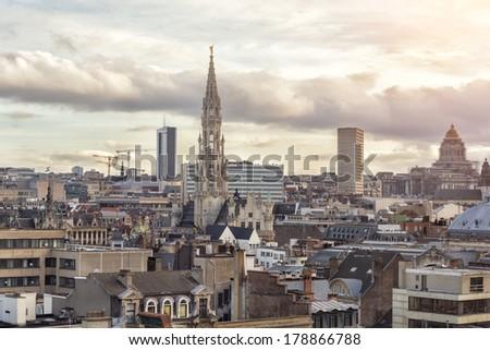 Cityscape of Brussels, Belgium - stock photo