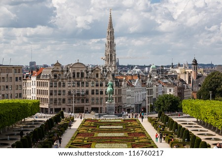 Cityscape of Brussels from Monts des Arts