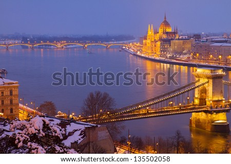 cityscape of  Budapest with Danibe river and pairlament  at night  Hungary - stock photo