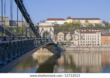 Cityscape of Budapest with the chain bridge and the castle hill