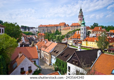 Cityscape of Cesky Krumlov in Czech Republic - UNESCO heritage site - stock photo