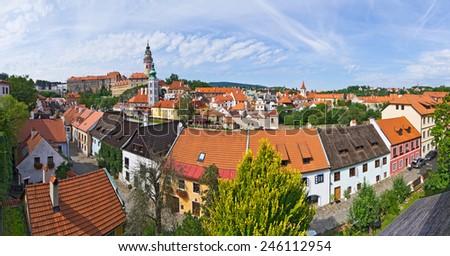 Cityscape of Cesky Krumlov in Czech Republic - UNESCO heritage site - stock photo
