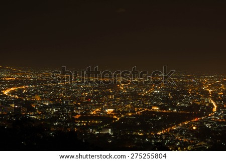 Cityscape of Chiang Mai, view from popular torist spot.