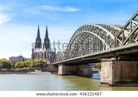 Cityscape of Cologne on summer day