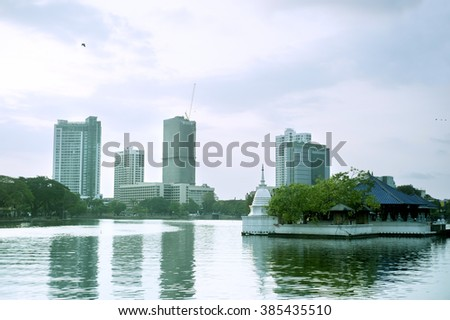 Cityscape of Colombo at sunset. Sri Lanka - stock photo