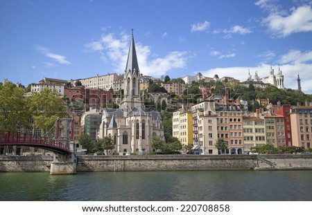 cityscape of colorful old lyon france - stock photo