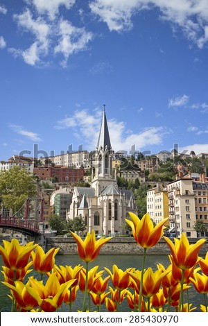 cityscape of colorful old lyon france with yellow tulips - stock photo