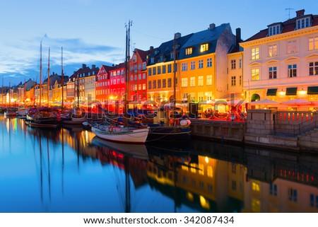 Cityscape of Copenhagen at a summer night - stock photo