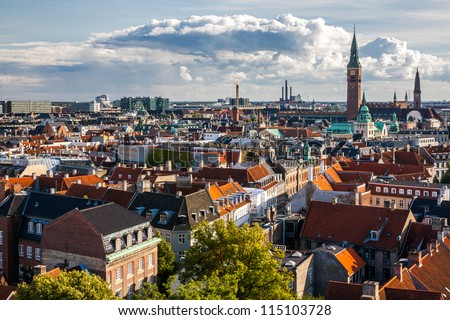 Cityscape of Copenhagen from the Round Tower - stock photo