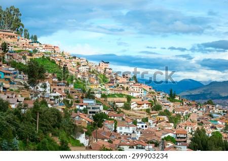 Cityscape of Cusco in Peru - stock photo