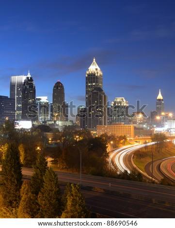 cityscape of downtown atlanta, georgia, usa - stock photo