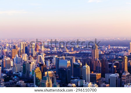 cityscape of downtown of Thailand at sunset.