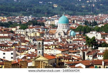 Cityscape of Florence Italy showing the homes and the synagogue - stock photo