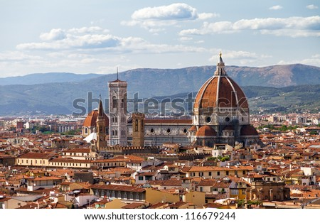 Cityscape of Florence, Italy, with the Cathedral and bell tower - stock photo