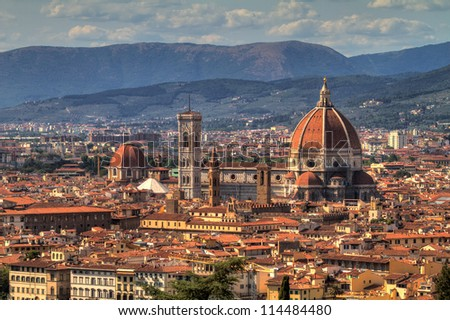 Cityscape of Florence, Italy, with the Cathedral and bell tower. HDR - stock photo