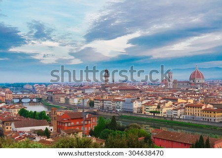 cityscape of Florence old town from above,  Italy - stock photo