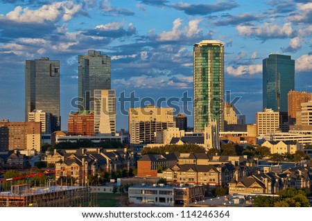 Cityscape of Fort Worth Texas in early evening light - stock photo