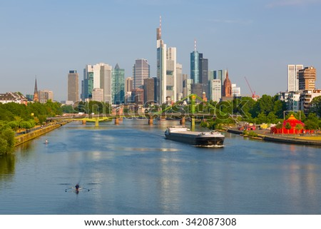 Cityscape of Frankfurt in a summer morning