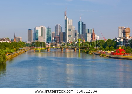 Cityscape of Frankfurt in a summer sunny day