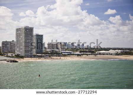 Cityscape of Ft. Lauderdale, Florida showing the beach and the city