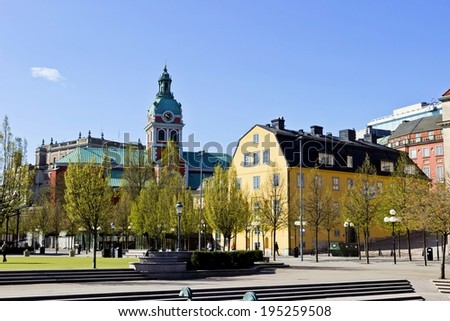Cityscape of Gamla Stan in Stockholm, Sweden - stock photo