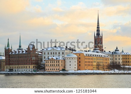 Cityscape of Gamla Stan Old Town Stockholm city Sweden - stock photo