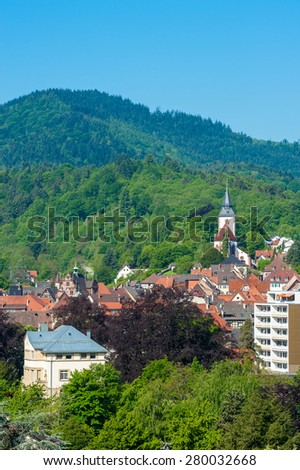 Cityscape of Gernsbach with Church of Liebfrauenkirche, Black Forest, Baden-Wuerttemberg, Germany, Europe
