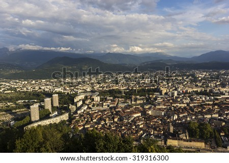 Cityscape of Grenoble in France