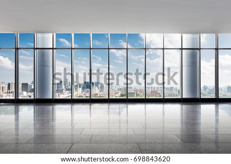 cityscape of hangzhou in cloud sky from empty office