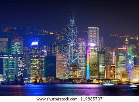Cityscape of Hong Kong Island from across Victoria Harbor