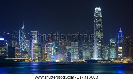 Cityscape of Hong Kong Island viewed from Kowloon across Victoria Harbor.