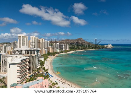 Cityscape of Honolulu city in a summer day - stock photo