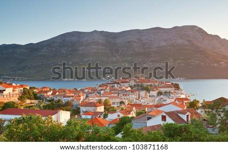 cityscape of Korcula. Croatia - stock photo