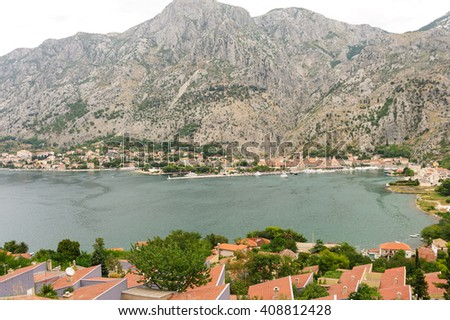 Cityscape of Kotor and Dobrota from Muo across the bay