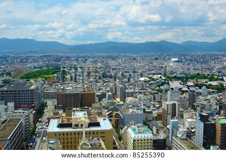 Cityscape of Kyoto, Japan.