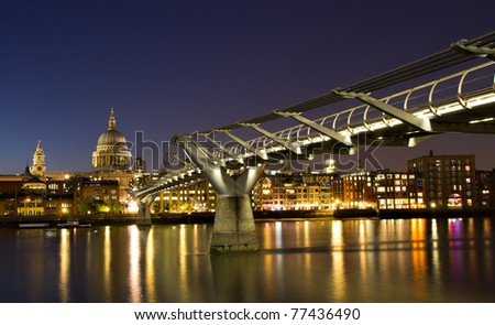 Cityscape of London at the blue hour with Saint Paul cathedral, England - stock photo