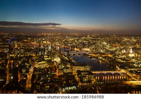 Cityscape of London at twilight, England - stock photo