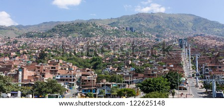 Cityscape of Medellin, Colombia. Medellin is the second-largest city in Colombia. It is in the Aburrá Valley, one of the most northerly of the Andes in South America. - stock photo